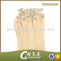 No tangle no shed factory wholesale cheap remy clip in hair extension 100% human