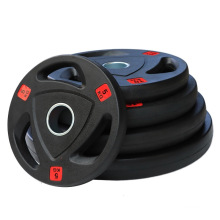 Gym Equipment 3 Hole Frosting Rubber Coated Weight Plates