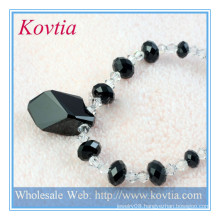 Beautiful sterling silver cord black crystal bead necklace natural loose diamonds