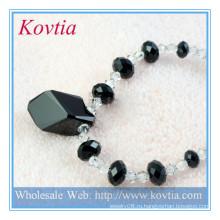 Красивое ожерелье из стерлингового серебра с черным кристаллом из натуральных рыхлых бриллиантов