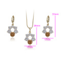 61762 xuping imitation jewelry set, 14k gold plated two piece fashion set for women