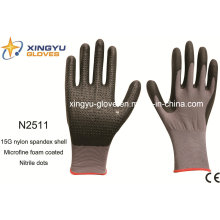 Nylon Spandex Shell Nitrile Coated Saftey Work Gloves (N2511)
