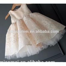 Corée fashion première anniversaire dentelle sans manches bébé fille volant robe avec grand arc