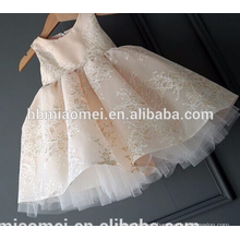 Korea fashion first birthday lace sleeveless baby girl frill dress with big bow