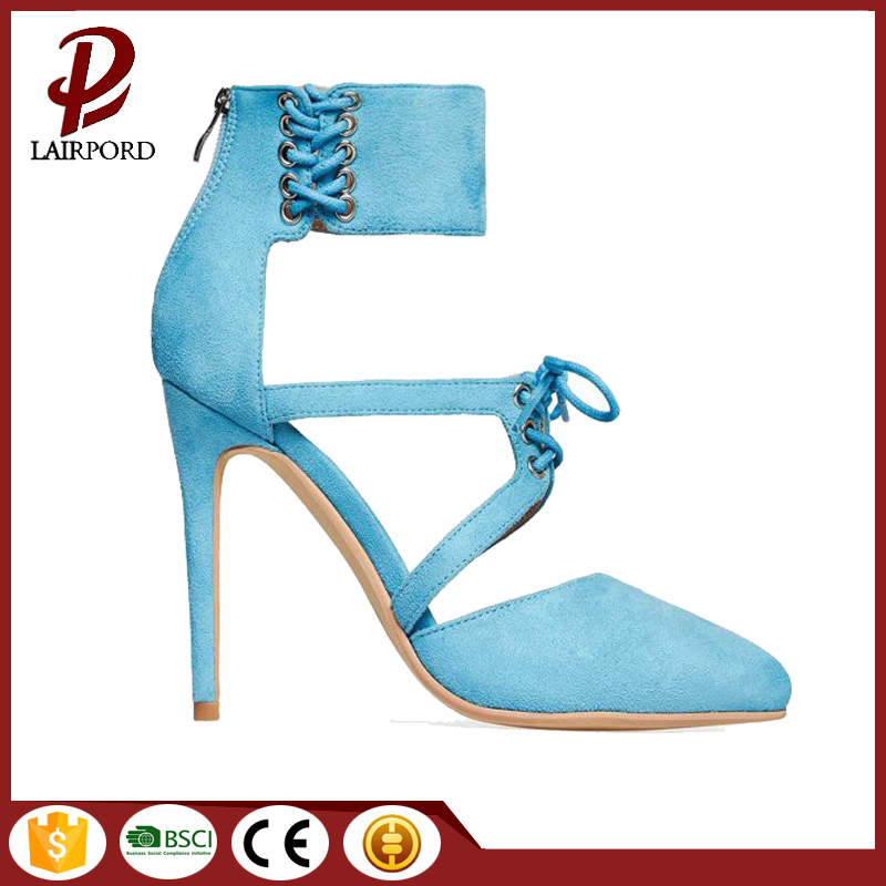 Blue fabric lace strap women summer shoes