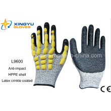 Hppe Shell Sandy Nitril beschichtete Sicherheit Arbeitshandschuhe (L9600)
