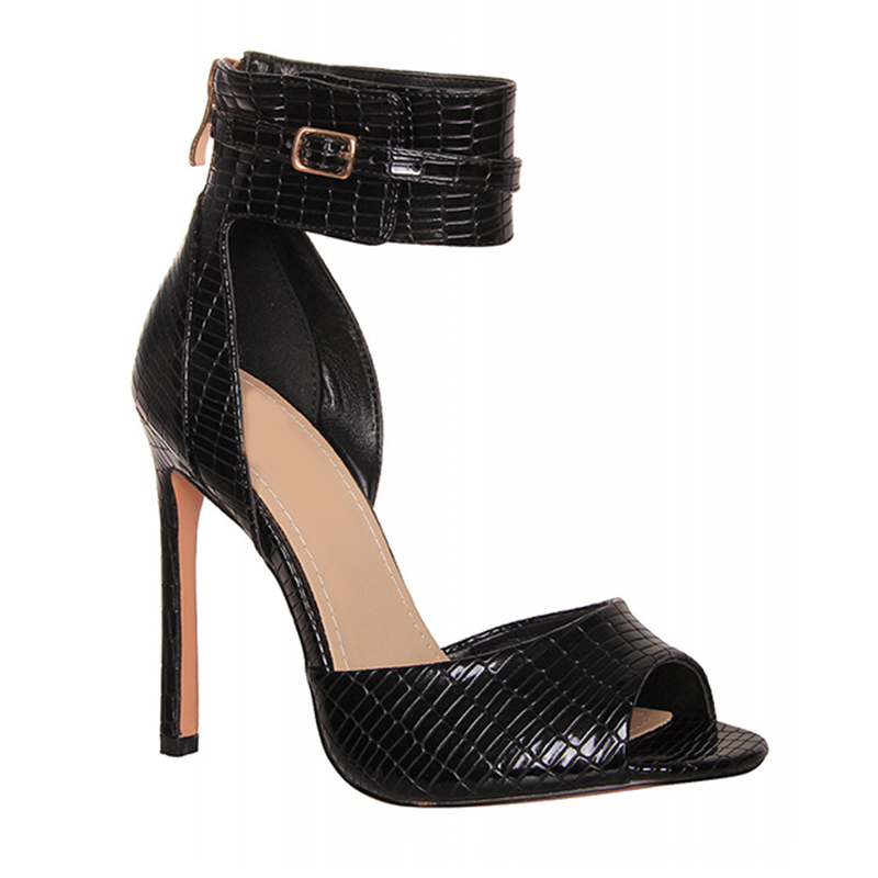 12cm black thin high heel elegant sandals