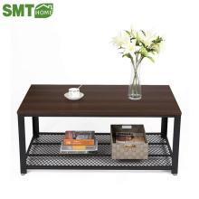 Mesa de cocktail vintage com prateleira de armazenamento para sala de estar madeira olhar Accent móveis com mesa de Metal mesa de café fácil Assem