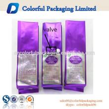 Limpar o saco longo de plástico selo plana café feijão / preto, golden.green, cores personalizadas de café chá feijão folha de alumínio sacos de plástico