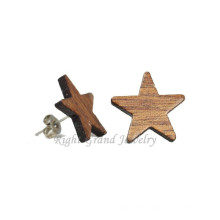 Cheap Small Wood Earring Stud 14mm Natural Organic Wood Star Ear Studs