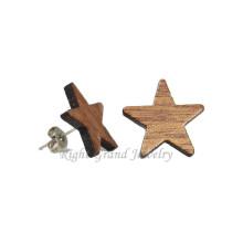 Дешевые маленькие деревянные серьги стержня 14мм природных органических деревянная Звезда уха шпильки