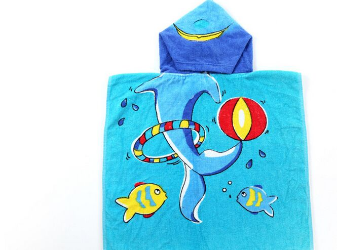 Kids Reactive Printed Animal Hooded Towel