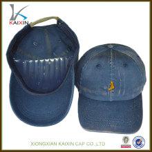gorras de béisbol al por mayor de encargo / sombreros de béisbol de encargo del vaquero del logotipo del bordado de la aduana / casquillos de béisbol lavados del botón del metal