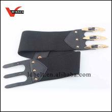 Elegantes Schwarzes mit speziellen Wölbungs-Frauen Dressy Elastischer Gürtel
