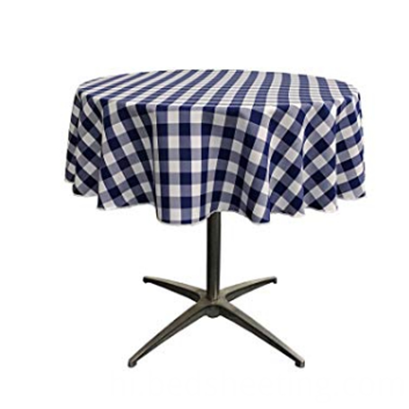 Polyester Navy White Check Tablecloth