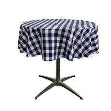 Runde Tischdecke aus gefärbtem Polyestergarn mit Karomuster