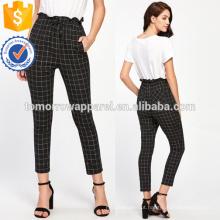 Frilled Waist Grid Pants Fabricação Atacado Moda Feminina Vestuário (TA3079P)