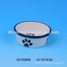 2016 lovely footprint design ceramic pet bowls,ceramic dog bowls,ceramic cat bowl