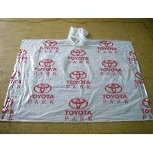 one time use PE rain poncho with Logo printed