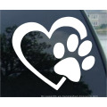 Etiqueta engomada del coche de la etiqueta del vinilo del amor del perrito de la pata del perro