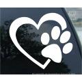 Coração com cão pata filhote de cachorro amor vinil decalque etiqueta do carro