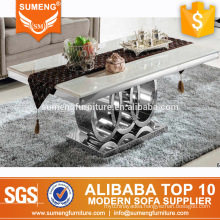 modern design stainless steel base marbel center coffee table