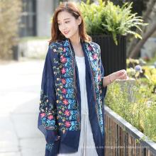 Alta calidad Moda nuevo diseño largo colores sólidos de alta calidad de algodón hijab chal bordado hijab