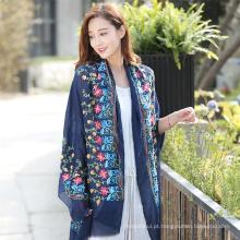 Alta qualidade Moda novo design longo cores sólidas de alta qualidade algodão hijab xale bordado hijab