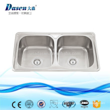 Punch stainless steel table top twin bowls trough sink with faucet