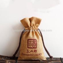 Custom wholesale eco friendly jute drawstring bag