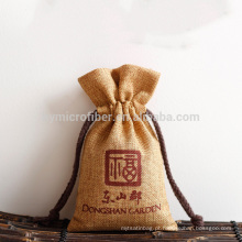 Custom wholesale eco friendly jute drawstring bag