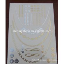 2015 neue Entwurfsart und weisegoldsilber bunter Körper einmal Metalltätowierungaufkleberpapier