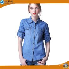 Factory OEM Women Long Sleeve Shirt Denim Blouse Shirts