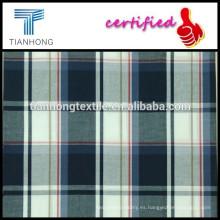 hilo de algodón de tejido popelín teñido de tela negra cheque blanco para la camisa