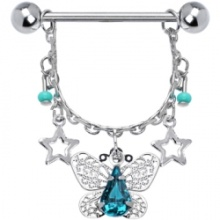Blue Zircon Elaborate Butterfly Nipple Ring