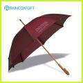 Manual que se abre el paraguas de madera recto para la promoción