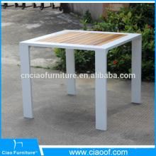 Table extérieure en bois en teck carré en aluminium