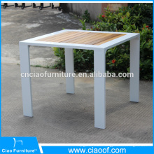Outdoor Aluminum Fram Square Teak Wood Table