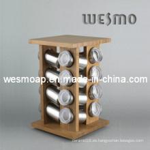 Soporte de especias de bambú giratorio / Soporte de especias de bambú