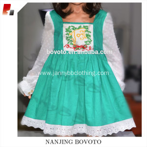JannyBB green&white Christmas one-piece long-sleeve dress