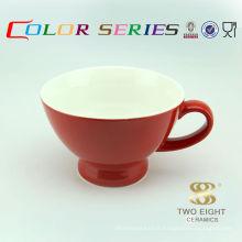 Bol à soupe en céramique rouge en forme de tasse avec poignée cuillère