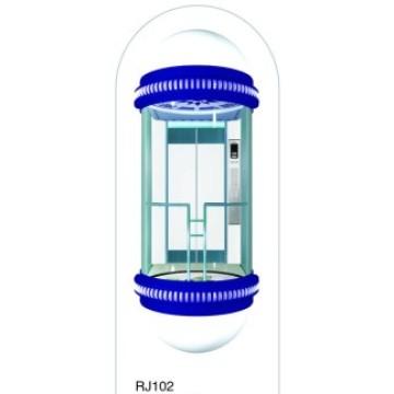 Ascensor de pasajeros panorámico en forma de U con cabina de vidrio