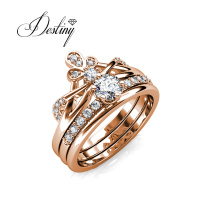 New Arrival 2021 Princess Crown 2 in 1 Double Solitaire Finger Ring Women Jewelry