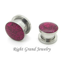 Dongguan Changan Fuschia 316L Steel 14 Gauge Glitter Ear Plugs