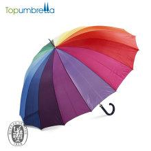 Guarda-chuva de golfe de arco-íris de multi-cor de calor de moda com 16ribs