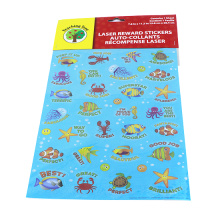 Happy Underwater Sea World Stickers Angelfish, Sharks, Starfish, Hippocampus - PVC Ocean Foam Fish Stickers for Kid