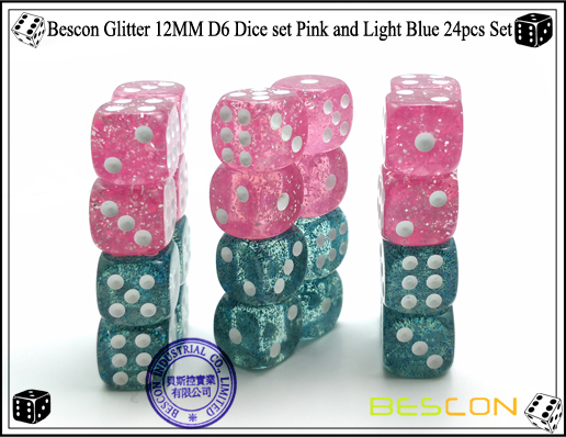 Bescon Glitter 12MM D6 Dice set Pink and Light Blue 24pcs Set-4