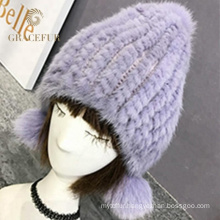 Top design italian real fur pompom winter hat wool