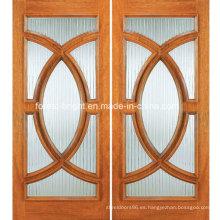 Puerta de entrada de madera de medio círculo con doble hoja y vidrio
