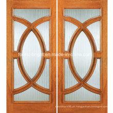 Porta de entrada de madeira meia folha dupla círculo com vidro